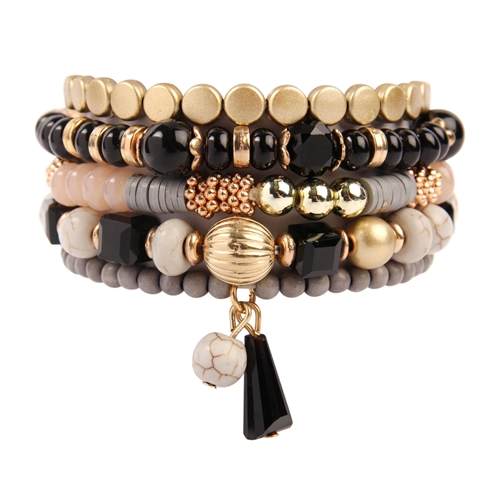 Black Multi-Beaded Stretch Bracelet - Black - Front