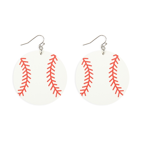 Baseball Leather Earrings -White / Red - Front