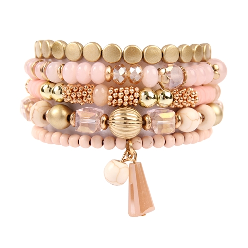 Pink Multi-Beaded Stretch Bracelet -Pink - Front