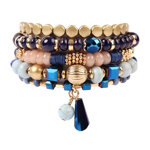 Multi-Beaded Stretch Bracelet -Navy - Front