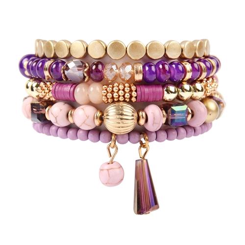 Purple Lover Multi-Beaded Bracelet - Purple - Front