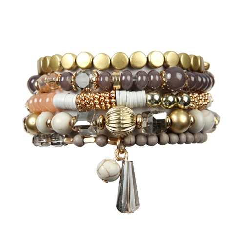Gray Multi-Beaded Stretch Bracelet -Gray - Front