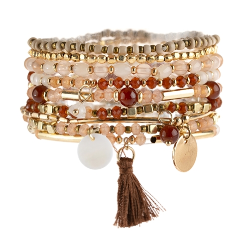 Fierce Red x Brown Mixed & Matched Beaded Bracelet -Red Brown - Front