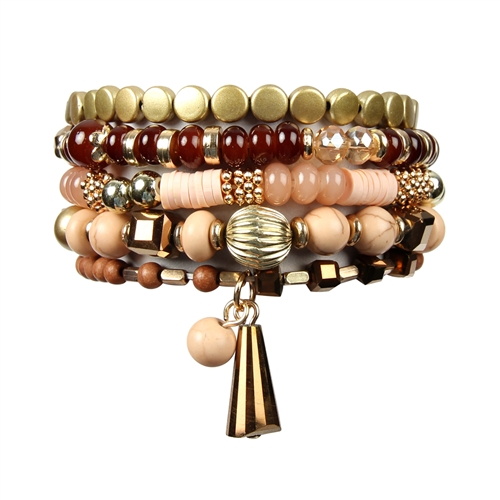Brown Shades Multi-Beaded Bracelet -Brown - Front