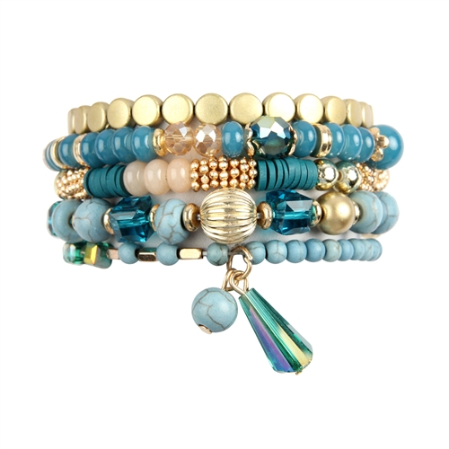 Shades of Blue Multi-beaded Stretch Bracelet -Blue - Front