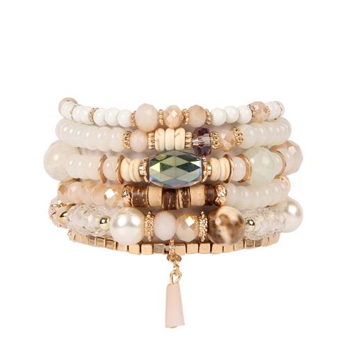 Simple Elegance Multi-Stone Beads Bracelet - White - Front