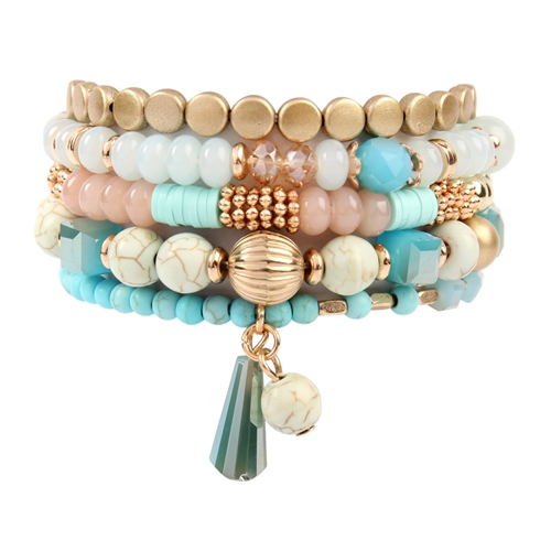 Turquoise Multi-Beaded Stretch Bracelet - Turquoise - Front