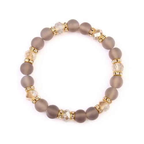 Gray Rondelle Glass Beads Stretch Bracelet - Gray - Front