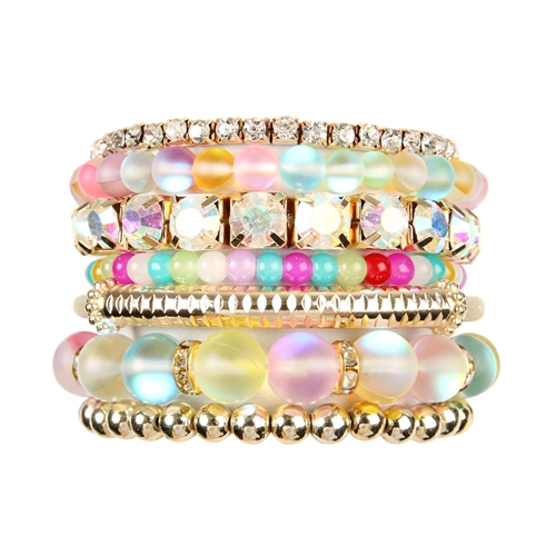 Multi-color Mermaid Glass Bracelet Set -Multicolor - Front