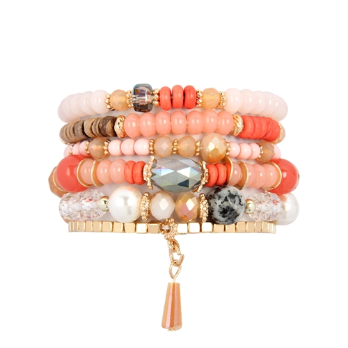 Coral Beaded Stackable Bracelet -Coral - Front
