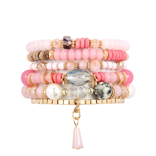 Pink Multi-Stone Beads Stackable Bracelet -Pink - Front