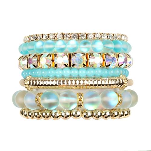 Mermaid Glass Bracelet Set -Aqua - Front