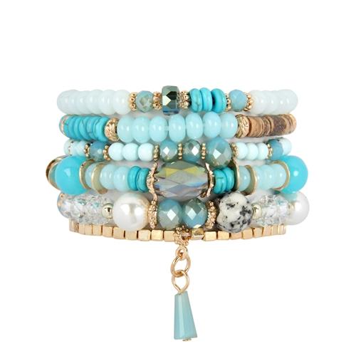 Turquoise Multi-stone Beads Bracelet -Blue - Front