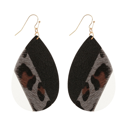 Leather Teardrop Earrings -Grey - Front