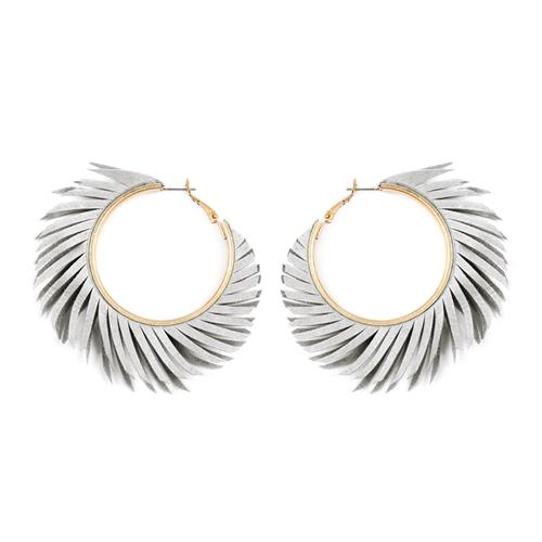 Gray Fringe Hoop Earrings -Grey - Front