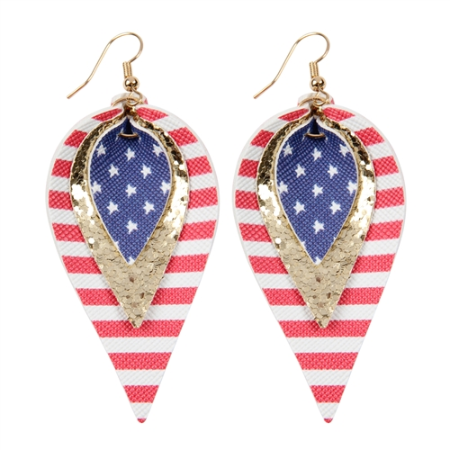 4th of July Leather Drop Earrings -Gold - Front