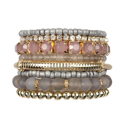 Gray Stackable Beads Bracelet Set -Gray - Front