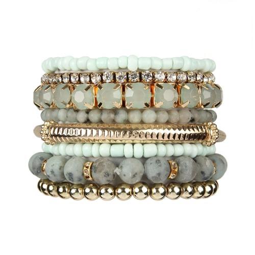 Light Mint Stackable Beads Bracelet Set -Light Mint - Front