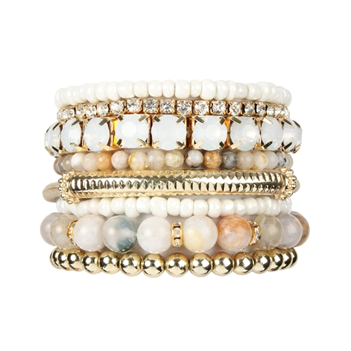 Multi-color Stackable Beads Bracelet Set -Multicolor - Front