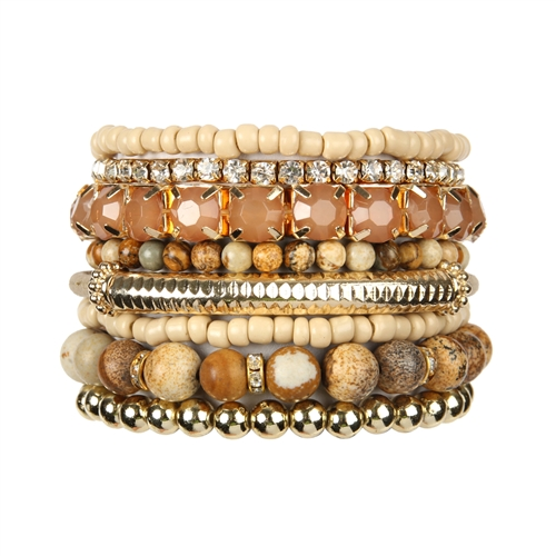 Light Brown Stackable Beads Bracelet Set -Light Brown - Front