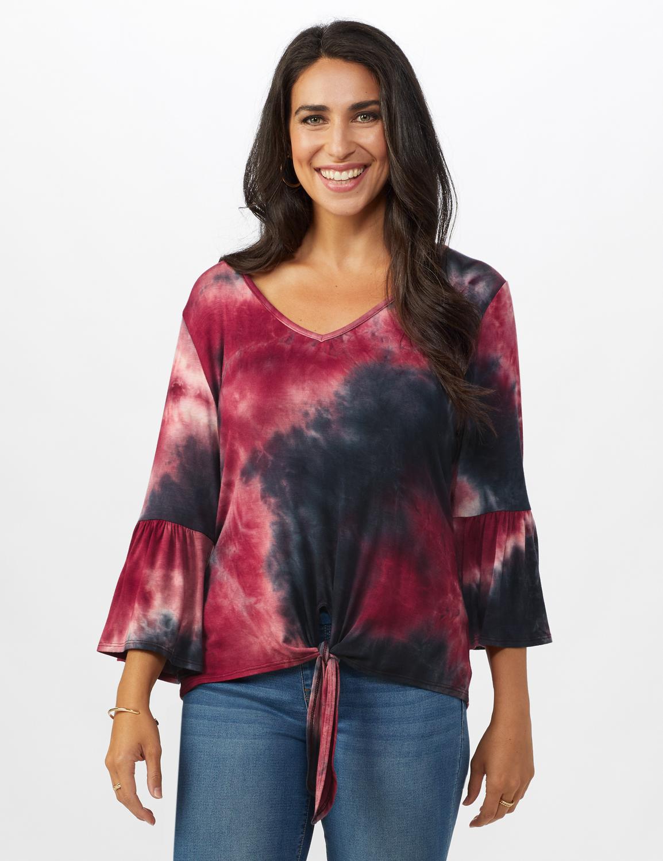 Westport Tie Dye Knit Top - Misses -Red/Black - Front