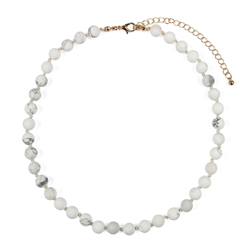 White Natural Stones Necklace -White - Front