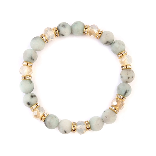 Light Gray Rondelle Glass Beads Stretch Bracelet -Gold / White - Front