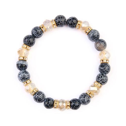 Black Rondelle Glass Beads Stretch Bracelet -Black - Front