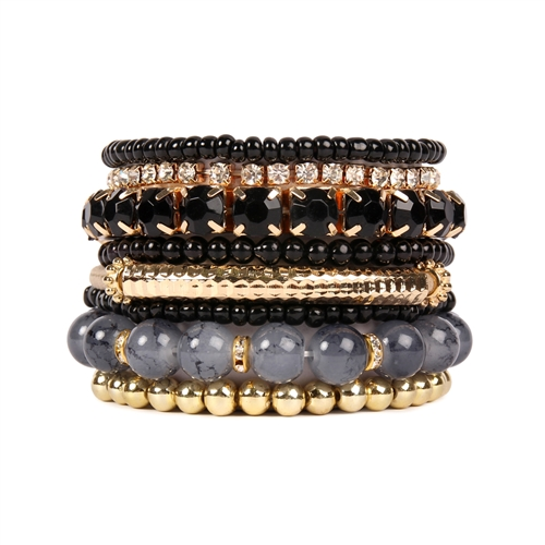 Black Meets Gold Beaded Stretch Bracelet -Black - Front