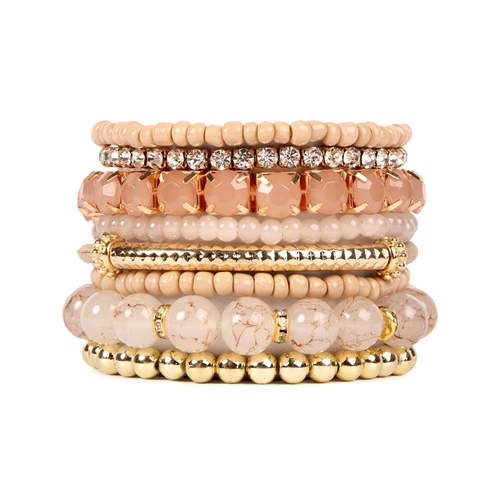 Shades Of Nudes Beaded Stretch Bracelet -Light Brown - Front