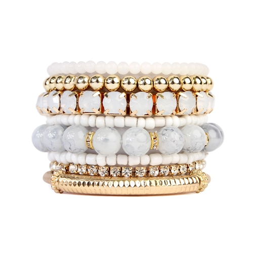 Icy Beaded Stretch Bracelet -Gold / White - Front