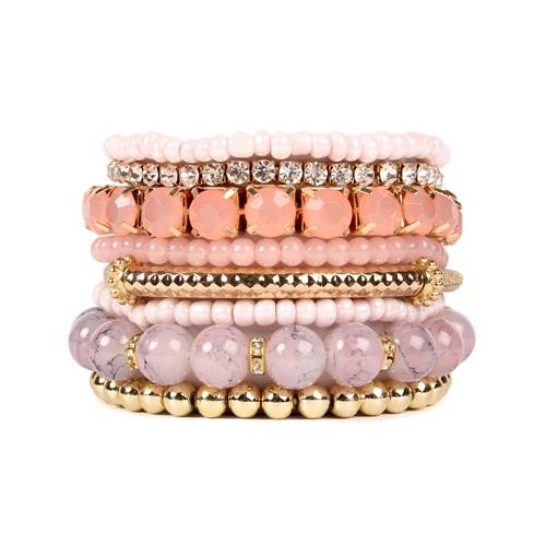 Pink Multi-Color Beaded Stretch Bracelet -Pink - Front