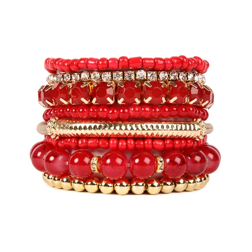 Fierce Red Beaded Stretch Bracelet -Red - Front