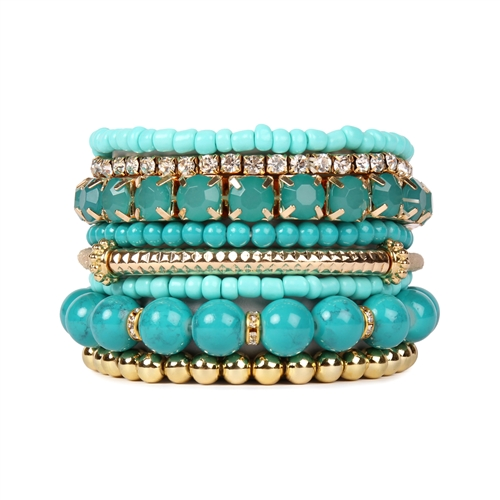 Turquoise Beaded Stretch Bracelet -Turquoise - Front