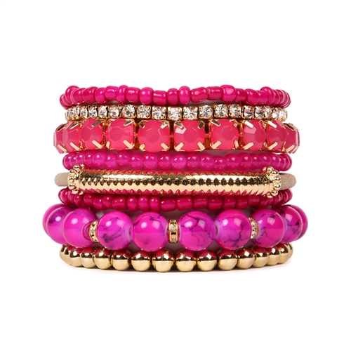 Bold Fuchsia Beaded Stretch Bracelet -Pink - Front