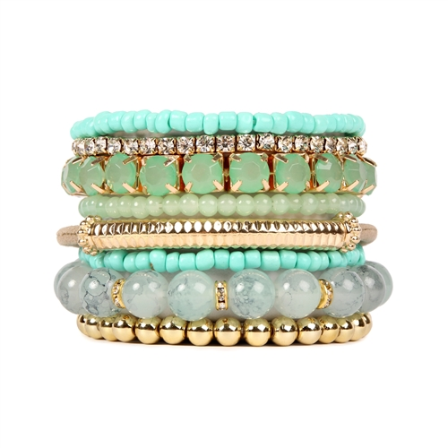 Mint Beaded Stretch Bracelet -Green - Front