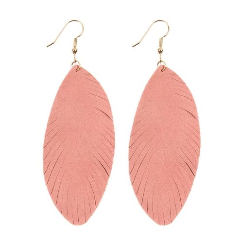 Pink Fringe Leaf Leather Drop Earrings -Pink - Front
