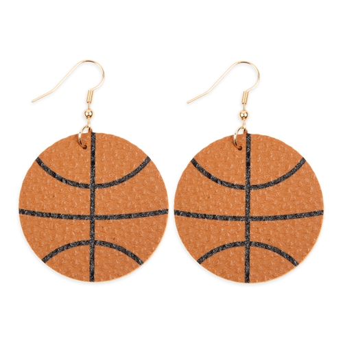 Basketball Leather Drop Earrings -Brown - Front
