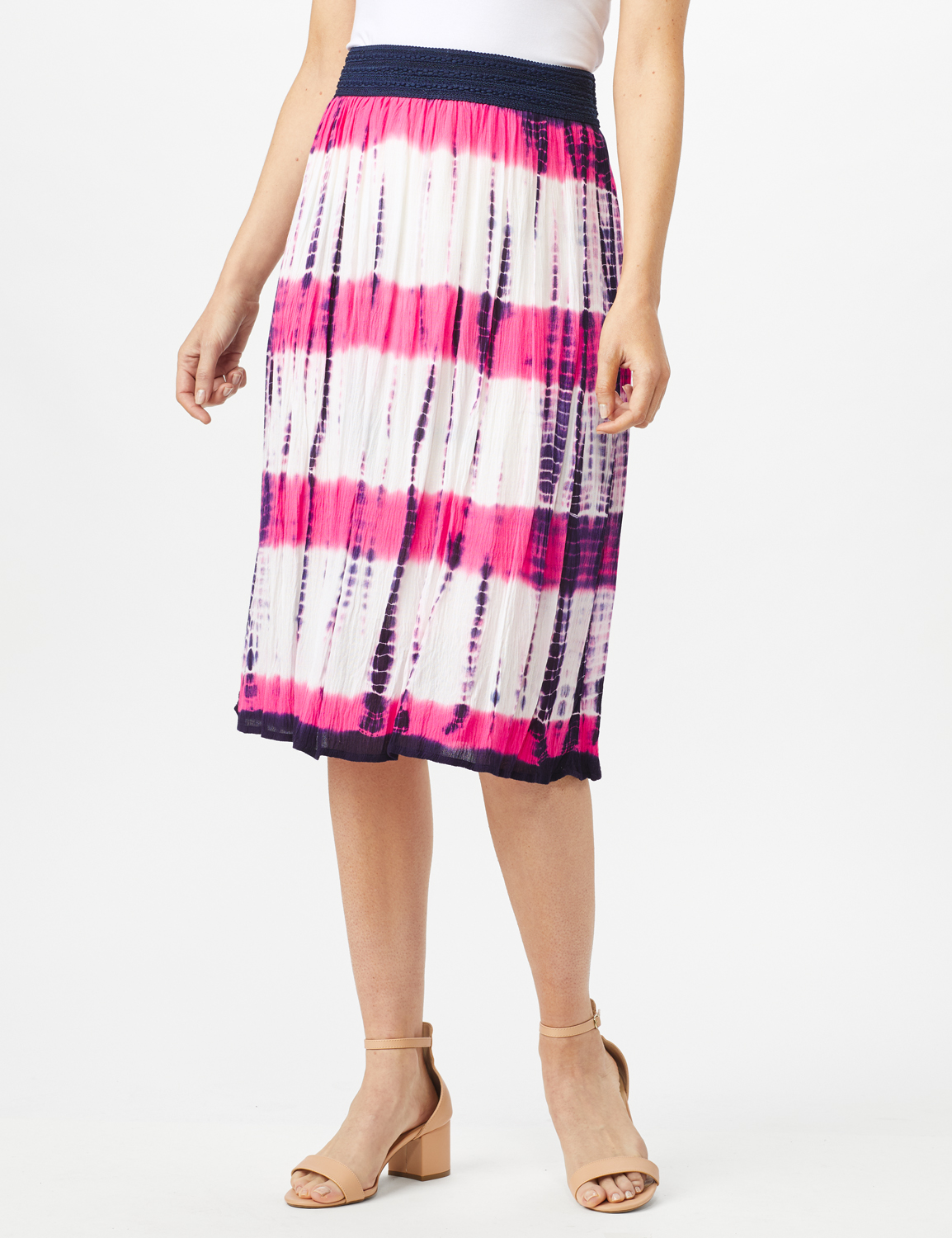 Rayon Gauze Skirt with Decorative Waistband -Fuschia/Navy - Front