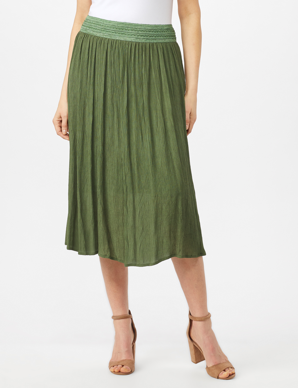 Rayon Gauze Skirt with Decorative Waistband -Olive - Front
