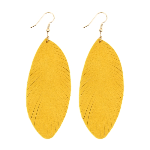 Yellow Fringe Leaf Leather Drop Earrings -Yellow - Front