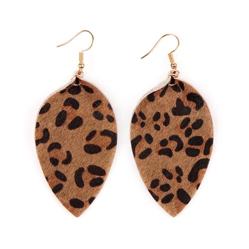 Leopard Leather Drop Earrings -Brown - Front