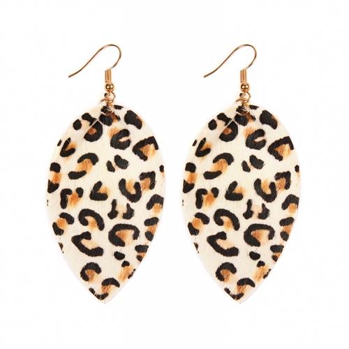Leopard Leather Drop Earrings -White - Front