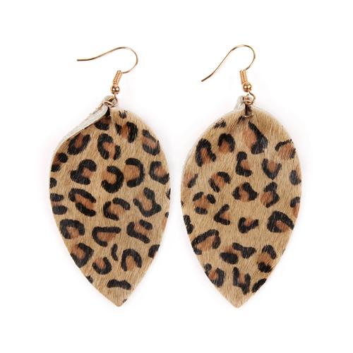 Leopard Leather Drop Earrings -Light Brown - Front