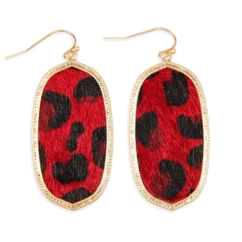 Red Leopard Print Drop Earrings -Red - Front
