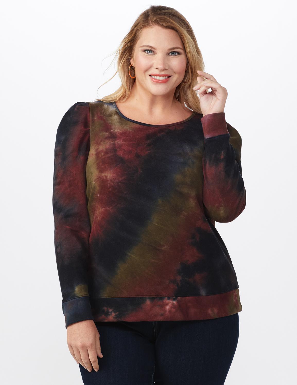 Tie Dye Puff Sleeve Sweatshirt - Plus -Black/Brown - Front