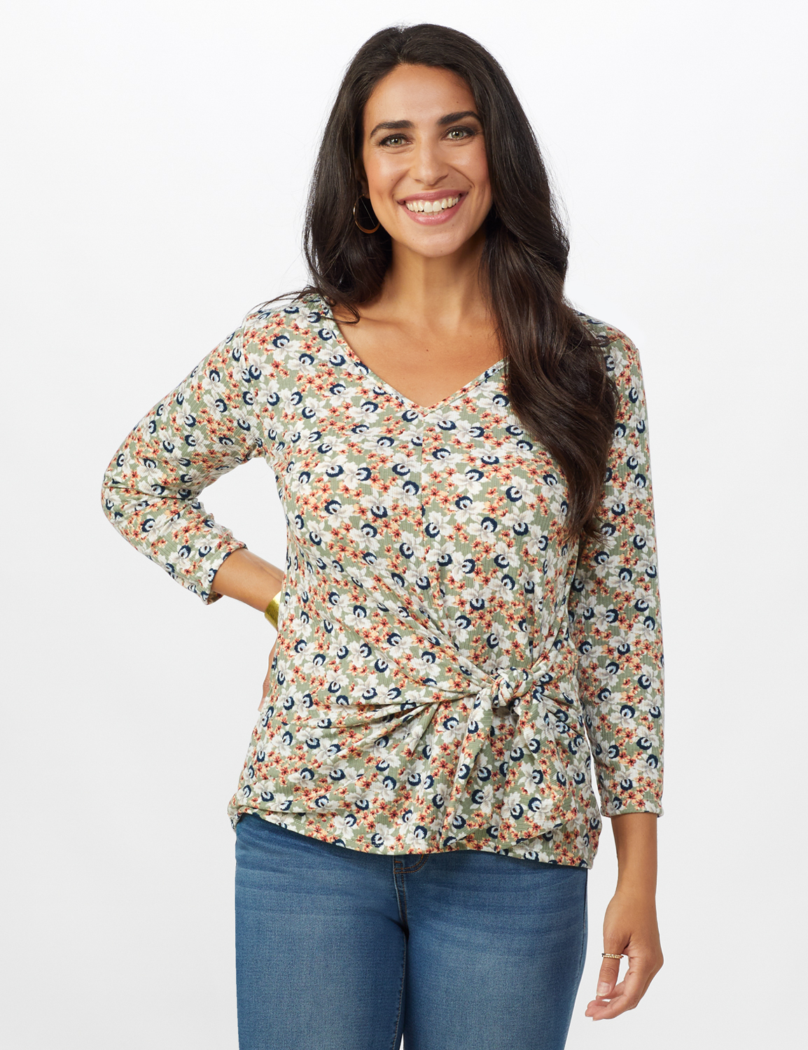 Small Floral Tie Front Knit Top -Sage/Peach - Front
