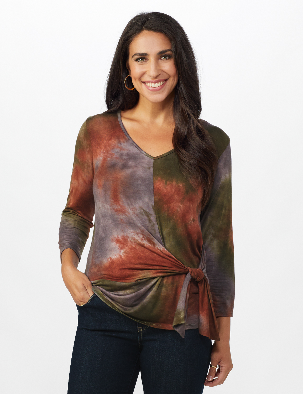 Multi Color Tie Dye Knit Top - Misses -Green/Rust - Front