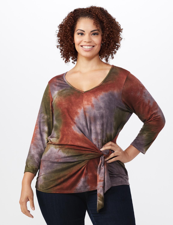 Multi Color Tie Dye Knit Top - Plus -Green/Rust - Front