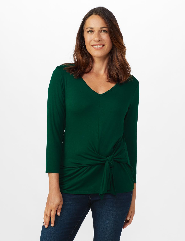 V-Neck Tie Front Knit Top - Misses -Hunter Green - Front